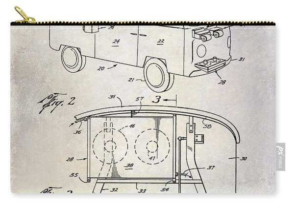 1970 Vw Patent Drawing Carry-all Pouch
