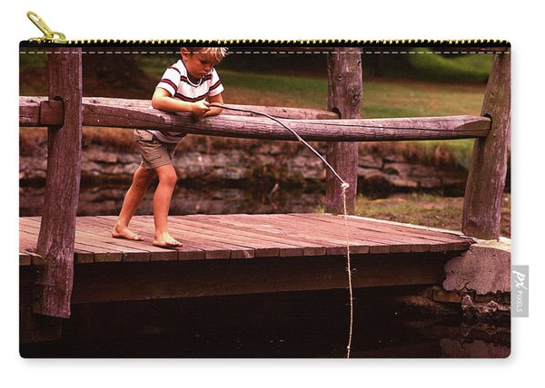 1970s Barefoot Blond Boy Fishing Carry-all Pouch
