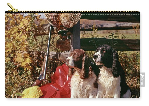 1970s Two Springer Spaniel Dogs Carry-all Pouch