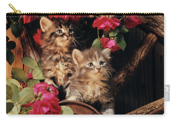1980s Two Kittens Climbing On Wagon Carry-all Pouch