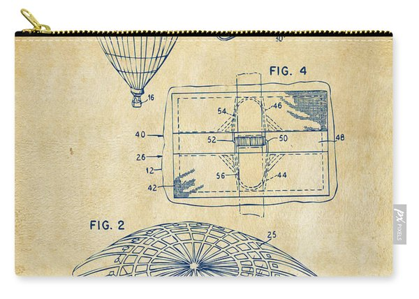1987 Hot Air Balloon Patent Artwork - Vintage Carry-all Pouch