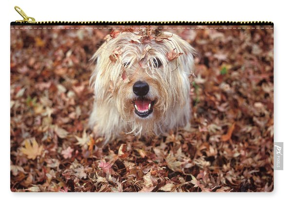 1990s Dog Covered In Leaves Carry-all Pouch