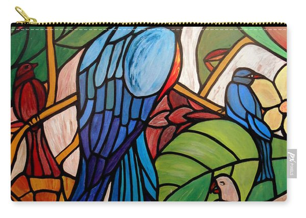 Carry-all Pouch featuring the painting 3 Birds On A Vine by Cynthia Amaral