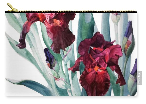 Dark Red Tall Bearded Iris Donatello Carry-all Pouch