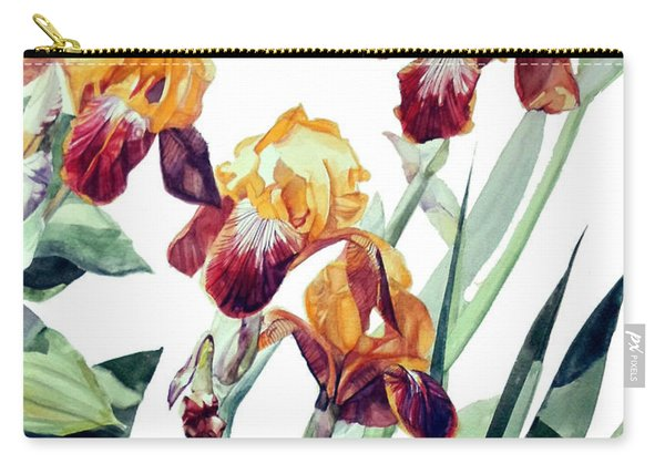 Watercolor Of Tall Bearded Irises I Call Iris La Vergine Degli Angeli Verdi Carry-all Pouch