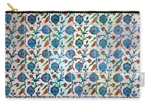 Iznik Ceramics With Floral Design Carry-all Pouch