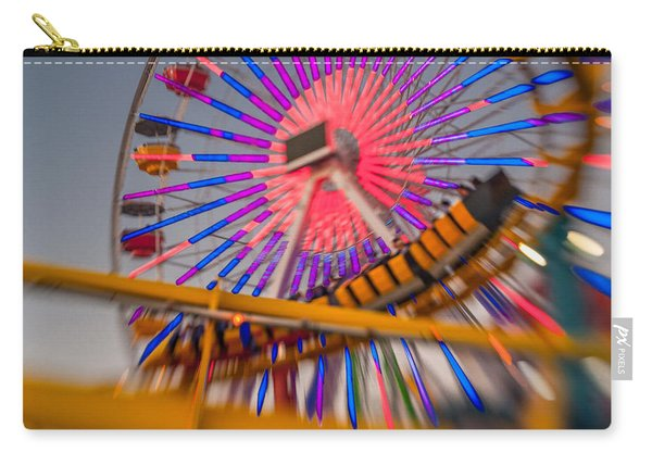 Santa Monica Pier Ferris Wheel And Roller Coaster At Dusk Carry-all Pouch