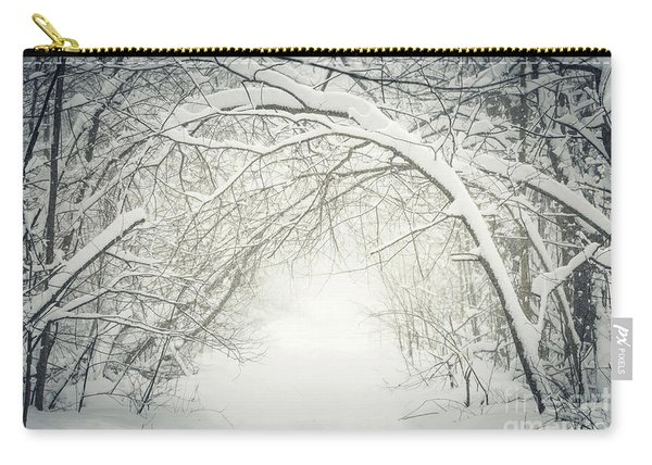 Snowy Winter Path In Forest Carry-all Pouch