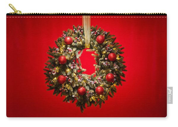 Advent Wreath Over Red Background Carry-all Pouch