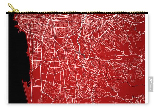 Beirut City Street Map - Beirut Lebanon Road Map Art On Color Carry-all Pouch