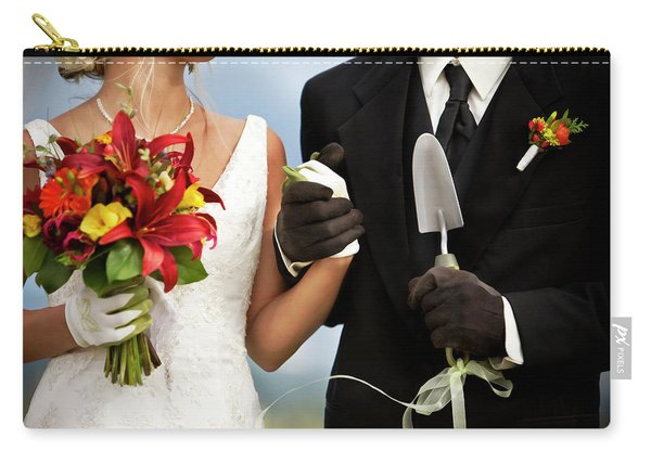 A Bride And Groom Wearing Gardening Carry-all Pouch