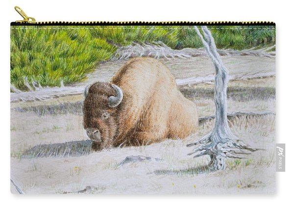 A Buffalo Sits In Yellowstone Carry-all Pouch