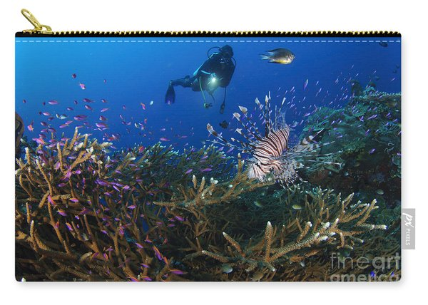 A Diver Looks On At A Lionfish Hovering Carry-all Pouch