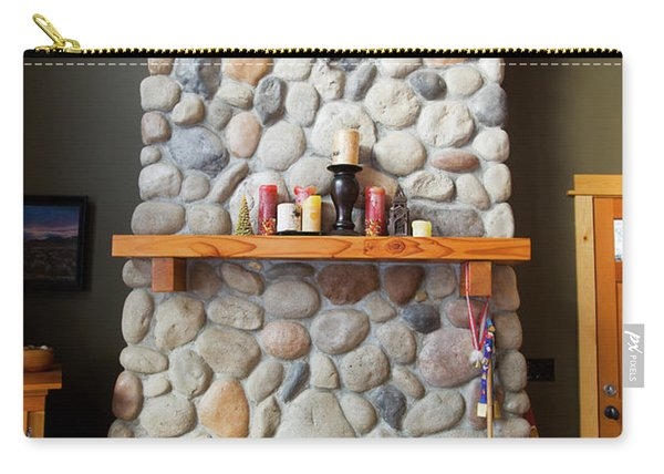 A Fireplace In A Mountain Cabin Carry-all Pouch