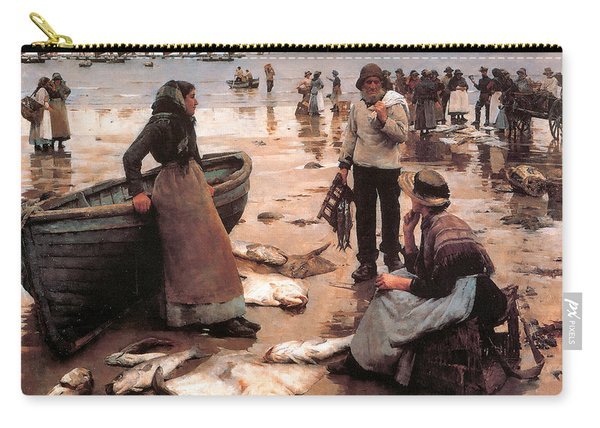 A Fish Sale On A Cornish Beach Carry-all Pouch