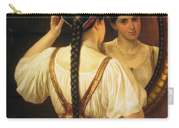 A Girl At The Mirror, 1848 Oil On Canvas Carry-all Pouch