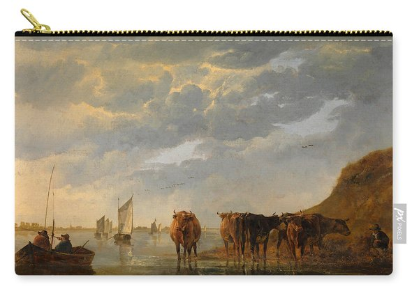 A Herdsman With Five Cows By A River Carry-all Pouch