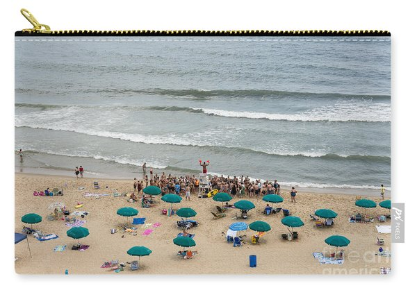 A Lifeguard Gives A Safety Briefing To Beachgoers In Ocean City Maryland Carry-all Pouch