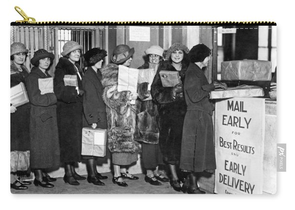 A Line Of Women At The Post Office Mailing Their Christmas Packa Carry-all Pouch