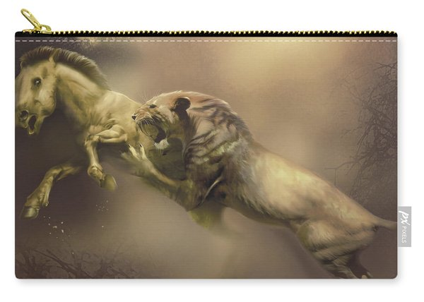 A Machairodus Saber-toothed Cat Attacks Carry-all Pouch