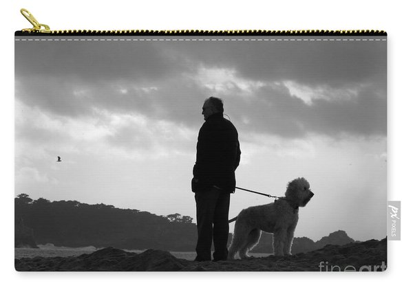 A Man A Dog And A Storm Carry-all Pouch