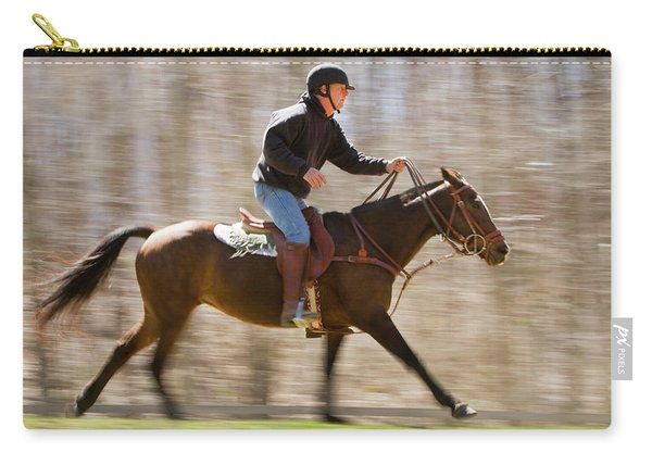 A Man Gallops On His Horse Carry-all Pouch
