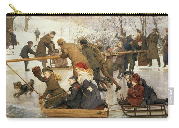 A Merry Go Round On The Ice, 1888 Carry-all Pouch