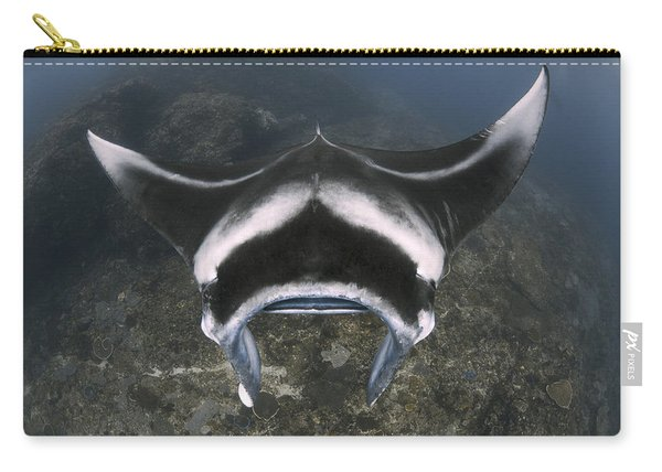 A Reef Manta Ray Swimming Above A Reef Carry-all Pouch