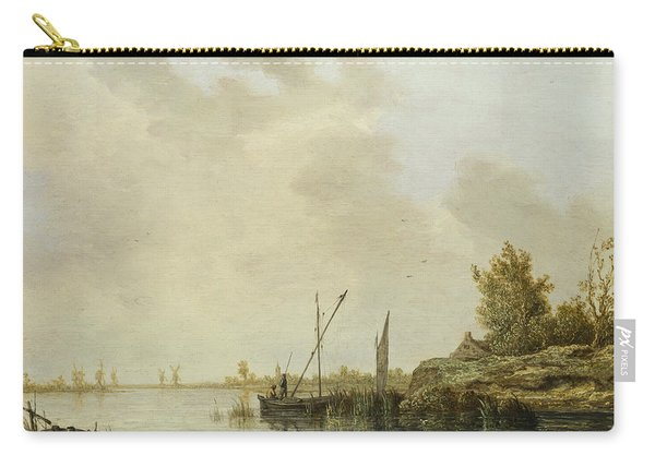 A River Scene With Distant Windmills Carry-all Pouch