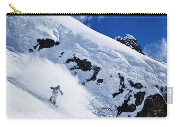 A Snowboarder Slashes Powder Snow Carry-all Pouch