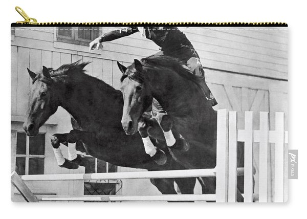 A Stunt Rider On Two Horses. Carry-all Pouch