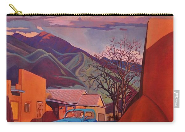 A Teal Truck In Taos Carry-all Pouch