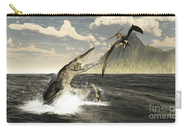 A Tylosaurus Jumps Out Of The Water Carry-all Pouch