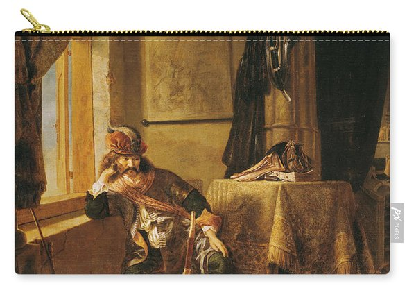 A Warrior In Thought Oil On Canvas Carry-all Pouch