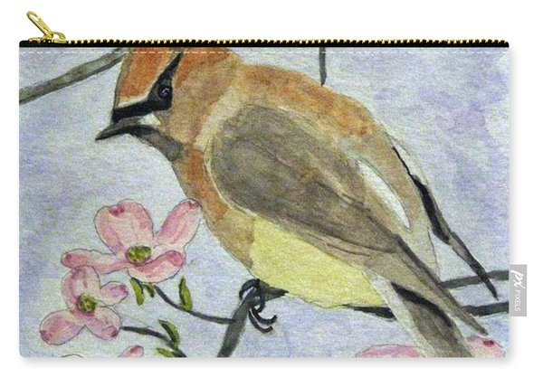 A Waxwing In The Dogwood Carry-all Pouch