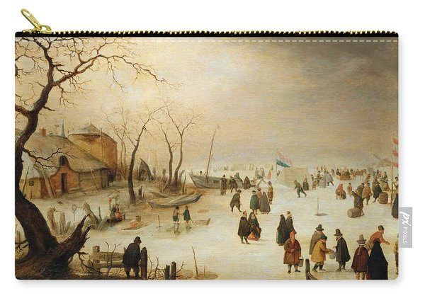 A Winter River Landscape With Figures On The Ice Carry-all Pouch