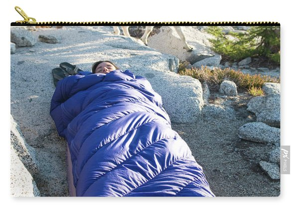A Woman Asleep In Her Sleeping Bag Carry-all Pouch