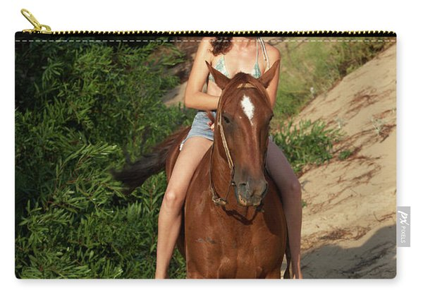 A Woman Horseback Riding Down Hill Carry-all Pouch