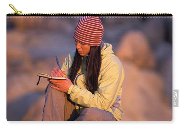 A Woman Sits And Writes In Her Journal Carry-all Pouch