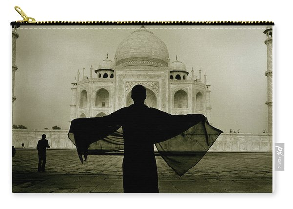 A Woman Stands Near The Famous Taj Carry-all Pouch