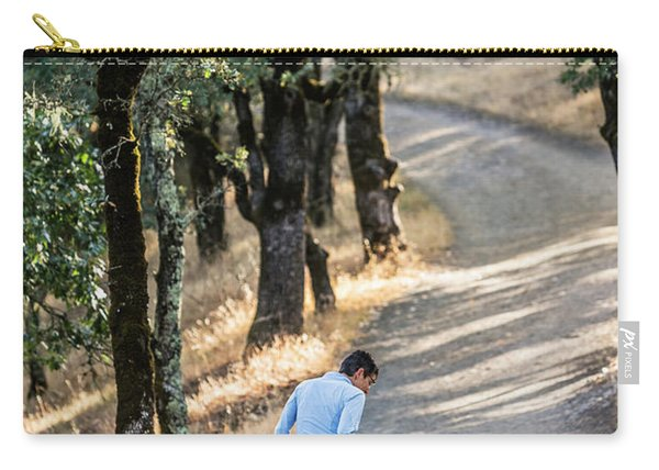 A Woman Takes Her Dog For A Walk Carry-all Pouch