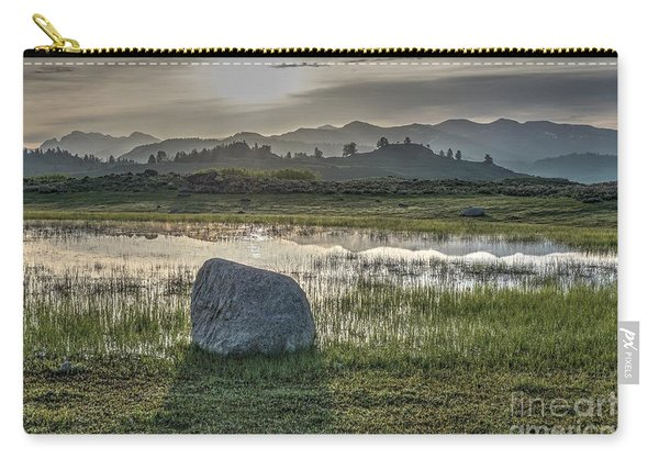 Carry-all Pouch featuring the photograph A Yellowstone Sunrise And Hazy Morning Ridges by Bill Gabbert