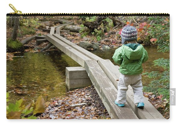 A Young Girl Walks Across Hiking Carry-all Pouch