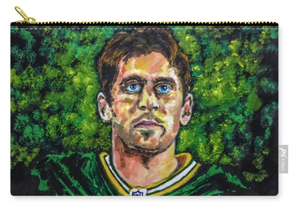 Carry-all Pouch featuring the painting Aaron Rodgers by Joel Tesch