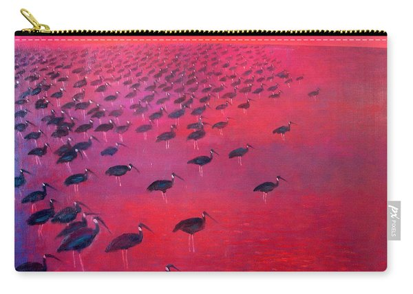 About 250 White Shouldered Ibis Oil On Canvas Carry-all Pouch