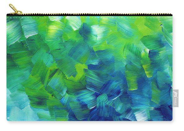 Abstract Art Original Textured Soothing Painting Sea Of Whimsy I By Madart Carry-all Pouch