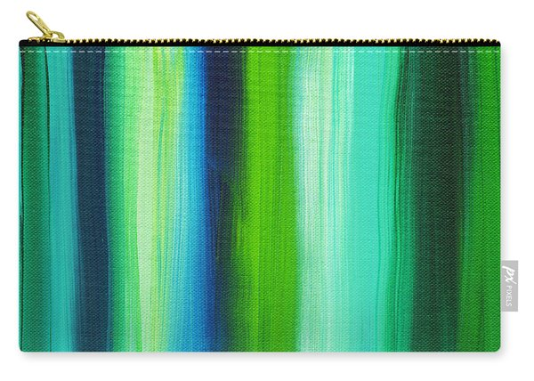 Abstract Art Original Textured Soothing Painting Sea Of Whimsy Stripes I By Madart Carry-all Pouch