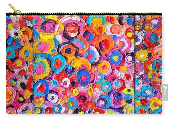 Abstract Colorful Flowers Triptych  Carry-all Pouch