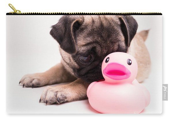 Adorable Pug Puppy With Pink Rubber Ducky Carry-all Pouch