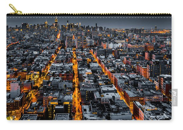 Aerial View Of New York City At Night Carry-all Pouch